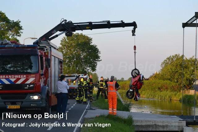 Motorrijder raakt te water aan de Oostgaag Maasland (video)