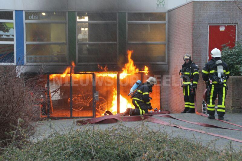 Fikse brand in berging van basisschool Wedekindzijde Zoetermeer