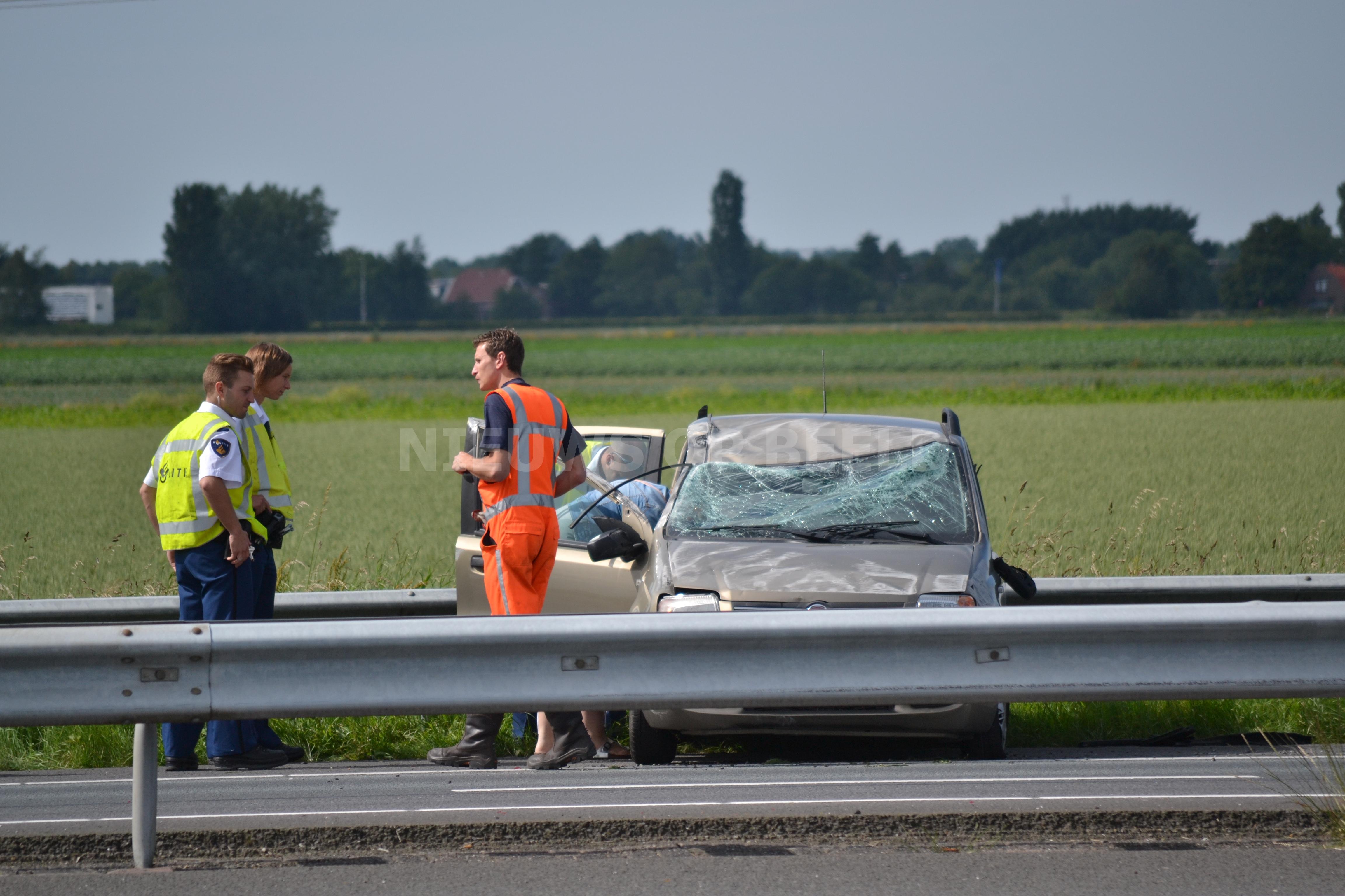 Lange file door eenzijdig ongeval A29 Mijnsheerenland