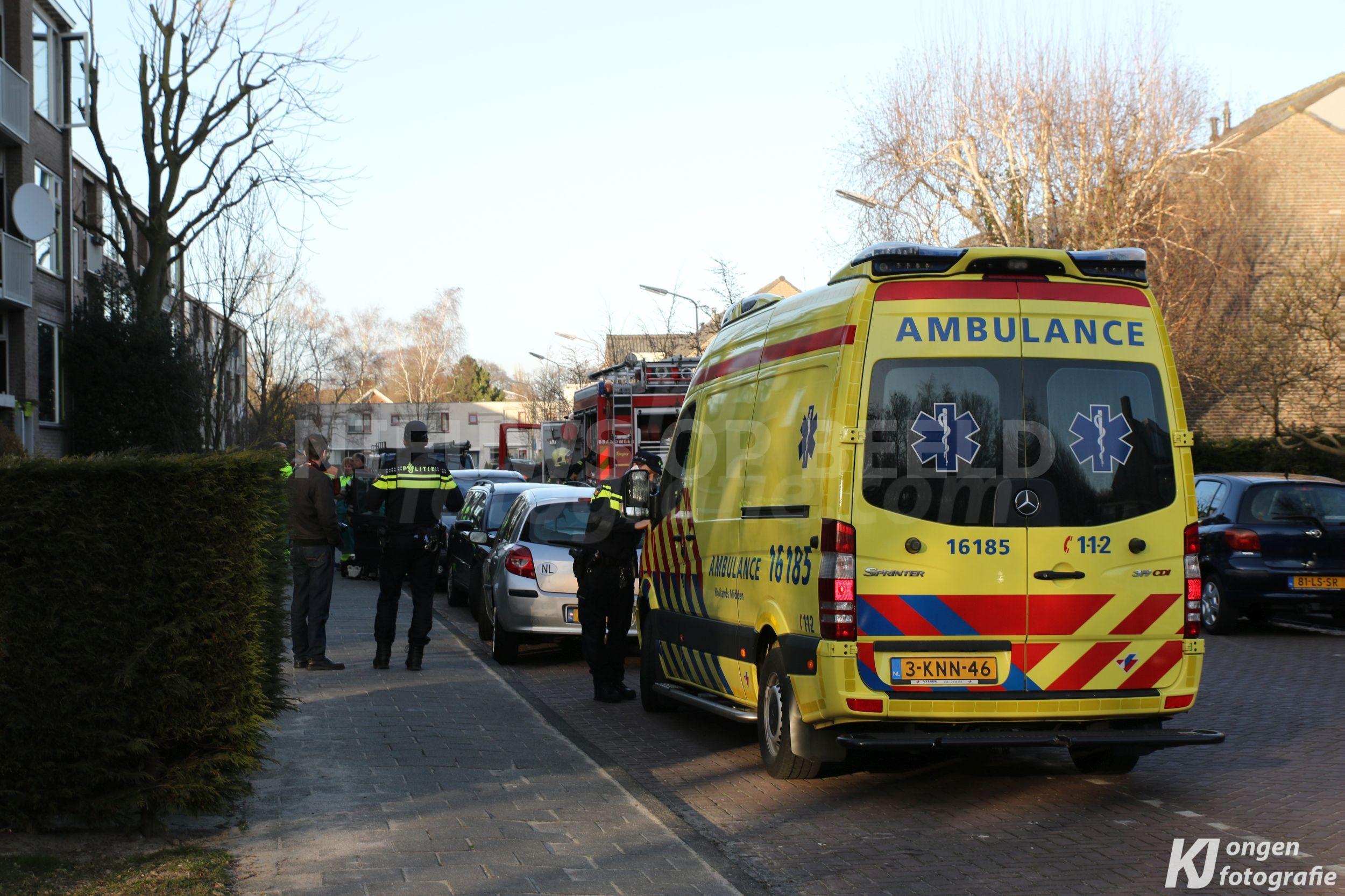 Keukenbrand in wonin Van den Woudestraat Warmond