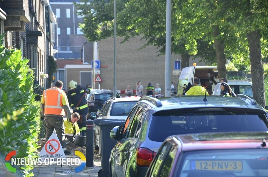 Flinke gaslekkage aan de Westerkade in Gouda