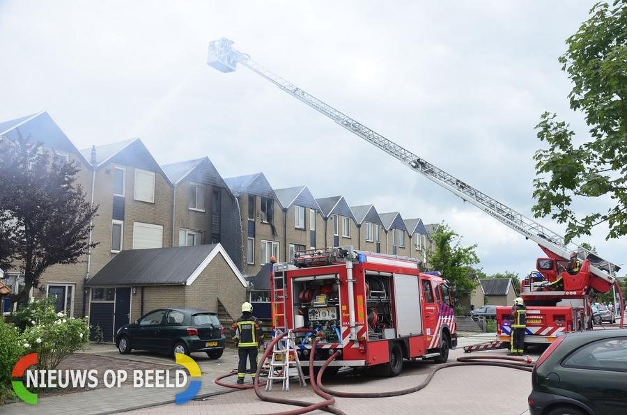 Grote brand op zolder van woning Boerhaavelaan Schoonhoven