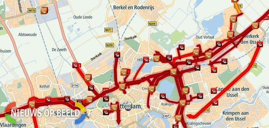 Verkeerschaos in Rijnmond-Noord na afsluitingen op A16 en A20