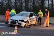 Automobilist slaat over de kop A12 Zevenhuizen