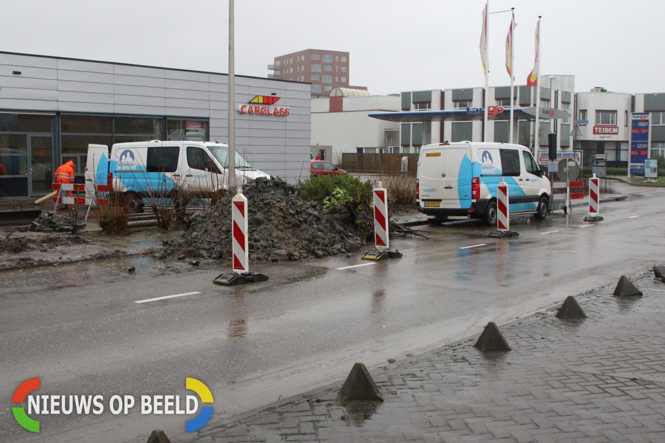 Huishoudens zonder water na raken waterleiding tijdens werkzaamheden Touwbaan Leiderdorp