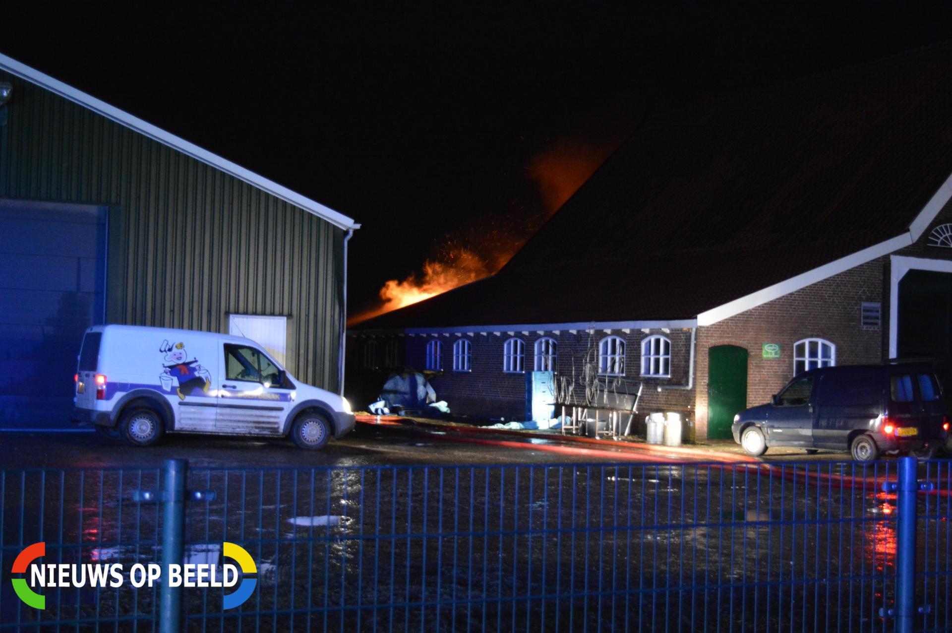 Grote brand in schuur bij boerderij Ramshilseweg Zuidland