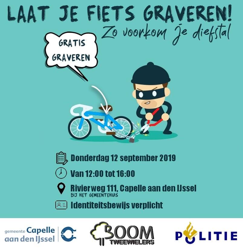 Gratis fietsgraveeractie bij het gemeentehuis Capelle aan den IJssel