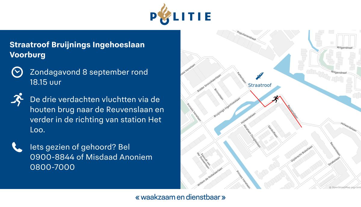 Drie tieners gezocht na straatroof met vuur- en steekwapen in Voorburg