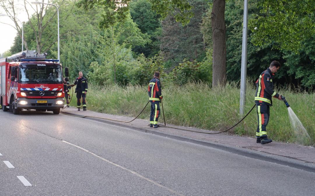 Bewoners blussen meerdere bermbranden Groenhovenweg Gouda