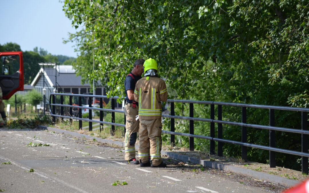 Gevaarlijke loshangende tak verwijderd door brandweer Schieveensedijk Rotterdam