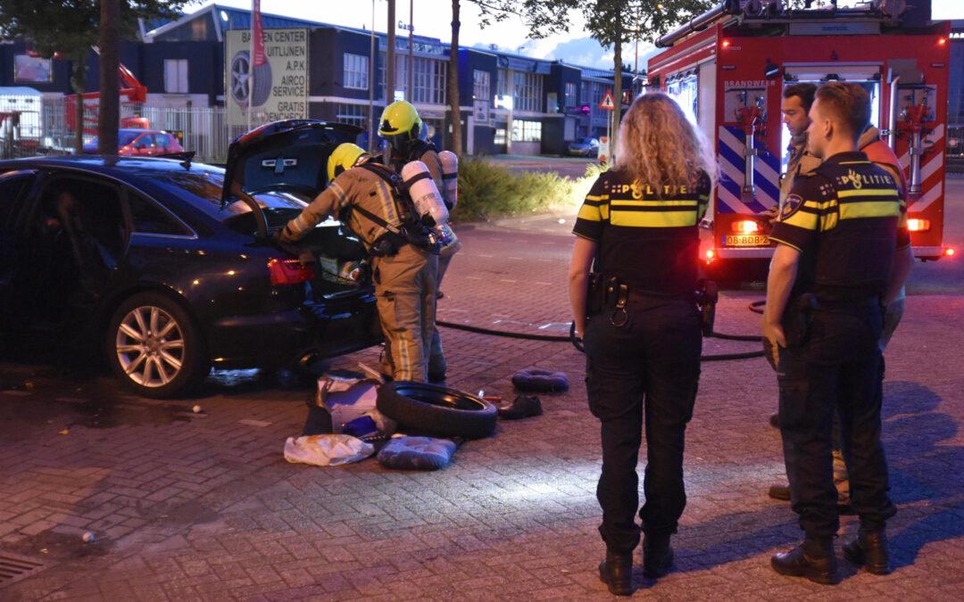 Brand in auto Industrieweg Rotterdam