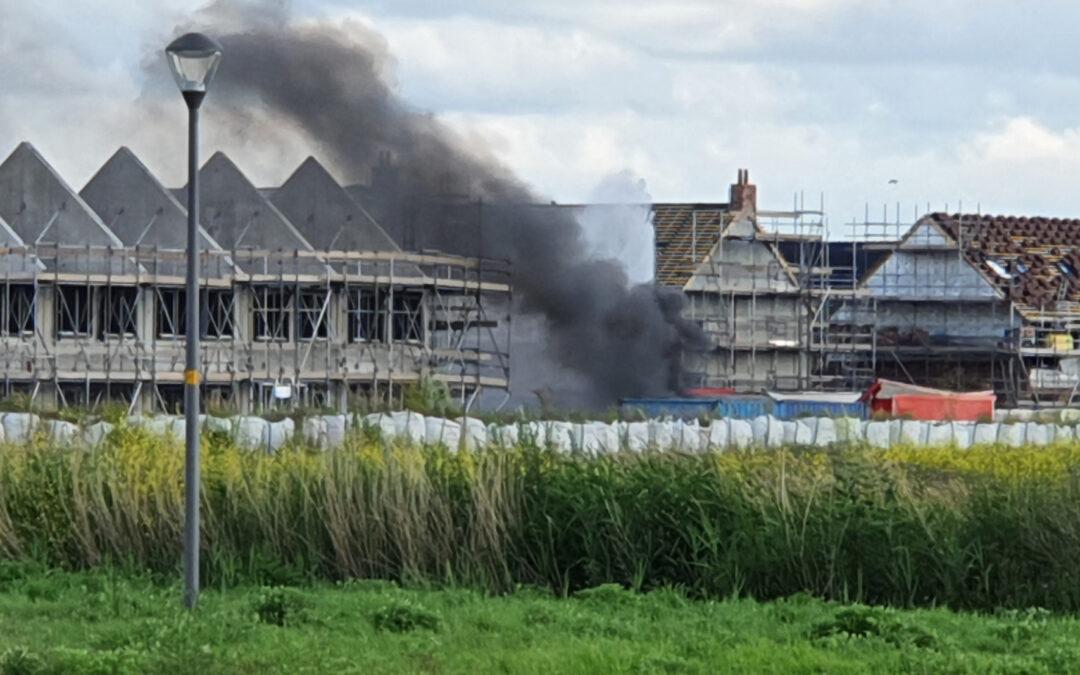 Enorme knal na brand op bouwplaats Snoekbaars Waddinxveen