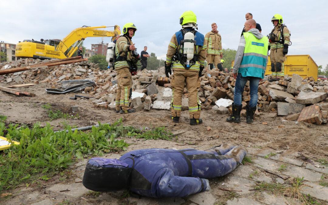 Brandweeroefening op bouwterrein Albert Schweitzerlaan Krimpen aan den IJssel