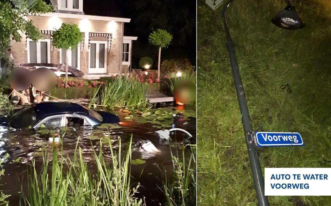 Automobilist onder invloed rijdt lantaarnpaal omver en gaat te water